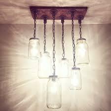 rustic industrial modern handmade jar chandelier kitchen