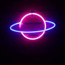 neon sign blue rosa planet led schild schöne dekoration
