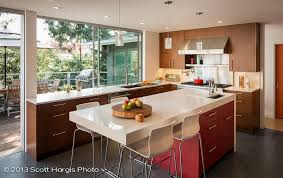 mid century modern kitchen remodel recessed ceiling light brass