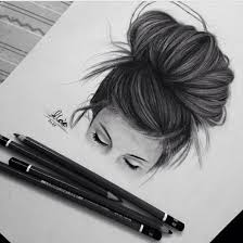 Art Black And White Drawing Dreaming Eyes Girl Hair
