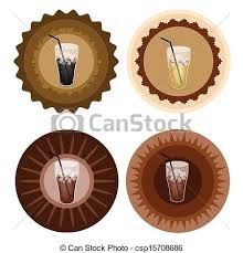 Four Type Of Iced Coffee On Retro Round Label