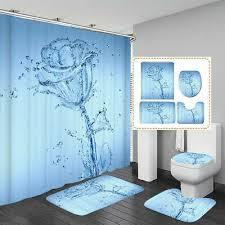 dekoration toilettensitzbezug set blau badezimmer