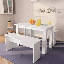 festnight 3 tlg essgruppe tisch und bänke tischgruppe 1 tisch 2 bänke sitzgruppe tisch bank esszimmer esstisch spanplatte weiß