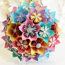 Paper Flowers Bouquet Origami Bridal Stationary UK Carnival Festival Beach Seaside Fun Colour Pop Pastel Fair Vintage Windmill Theme