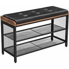 vasagle schuhbank gepolsterte sitzbank mit gitterablage schuhregal flur schlafzimmer metall einfacher aufbau platzsparend industrie design