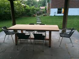 Outdoor Table Project Du Jour Diy Wood Dining Round Mandala Stained Base Rustic Folk Industrial Midcentury