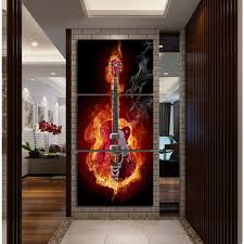 Music Art 3 Panel Wall Painting Modern Home Decors Black Burning Guitar Pop Pictures Decorn On Canvas Printed In Calligraphy From