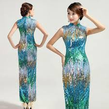 rainbow sequin party cheongsam sleeveless long qipao evening dress