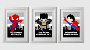 Leopard Print Bathroom Wall Decor by Superhero Bathroom Wall Prints Instant Download Set Of 3