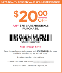More Ulta Promo Codes: BareMinerals $10 Off $40/$20 Off $75 ...