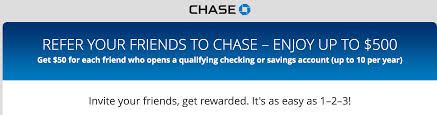 Chase Now Offers $50 Referral Bonus For Checking & Savings ... Roundup Of Bank Bonuses 750 At Huntington 200 From Chase Total Checking Coupon Code 100 And Account Review Expired Targeting Some Ink Cardholders With 300 Brighton Park Community Bonus 300 Promotion Palisades Credit Union Referral 50 New Is It A Trap Offering Just To Open Checking Promo Codes 350 500 625 Business Get With 600 And Savings Accounts Handcurated List The Best Sign Up In 2019 Promotions Virginia