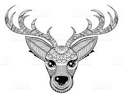 Vector Reindeer For Adult Anti Stress Coloring Pages Royalty Free Stock Art