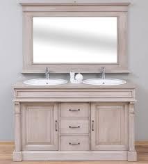 casa padrino landhausstil badezimmer set grau 1 doppelwaschtisch 2 waschbecken 2 wasserhähne 1 wandspiegel massivholz badezimmermöbel im