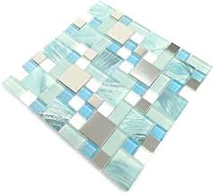 handbemalte ozeanblaue glasfliesen silber küche mosaik backsplash edelstahl fliesen crackle chips aqua glas weiß blätter badezimmer wandmaterialien