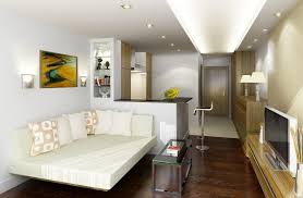 ApartmentStylish Small Studio Apartment Designs With Cool White Bed Seat And Long Glass Table