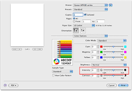 FigureIntensity Of Color Options In The Print Dialog