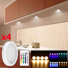 4xrgb color changing led cabinet light counter closet puck