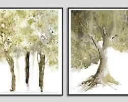 Set Of Two Prints Tree Art Olive Green Artwork Matching