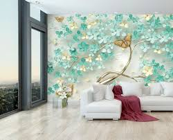 fototapete blütenbaum schmetterlinge türkis fototapeten tapete wandbild baum blüten gold wand m6610