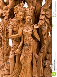 rama and his wife sita wood carving stock images image 6705534