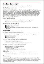 Hostess On Resume CV Sample MyperfectCV