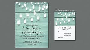 String Lights Mason Jars Barn Wedding Invites