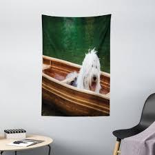 wandteppich wohnzimmer schlafzimmer wandtuch seidiges satin wandteppich abakuhaus rechteckig englisch sheepdog bobtail in einem kanu