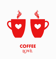 Coffee Cups Love Vector Art Illustration