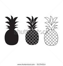 Pineapple Vector Black White Three Different Stock Vector