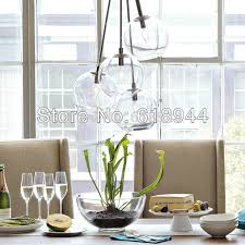 Single Head 4Heads Modern Brief Clear Glass Pendant Lights Hanging Lamp Round Dining