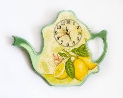 Wall Clock Kitchen Decor Lemons Yellow And Green By BeauMiracle 3900