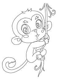 Cute Monkey Coloring Book