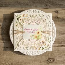 Ivory Laser Cut Sunflower Rustic Twine Wedding Invitations With Tags EWWS091