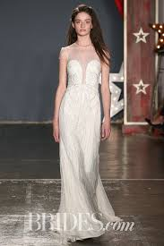 Sheath Tulle Dress With Allover Silvery Vertical Beading And Illusion Neckline By Jenny Packham