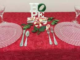 CINDERELLA This Enchanting Tablecloth Swirls Atop Our Poly Red Underlay