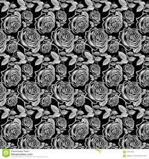 Antique White Vintage Roses On Black Background