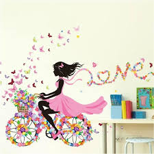 stickers chambre fille stickers muraux decoration interieuration princesse vélo