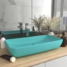 sw luxus waschbecken rechteckig matt hellgrün 71x38 cm keramik