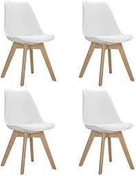 goldfan 4er set esszimmerstuhl holz moderner stuhl mit kissen für esszimmer büro wohnzimmer buche beine weiß