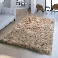 wohnzimmer hochflor teppich kunst fell design versch formen unifarben in beige größe 80x120 cm fell form