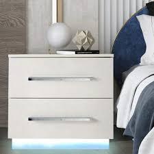 modern nachttisch mit 2 schublade led licht nachttisch hochglanz moderner lagerschrank schlafzimmermöbel 55 37 50 cm weiß