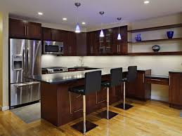 Full Image For Exotic Brown Italian Kitchen Decor With Stainless Steel Bar And Black Stools