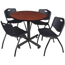 100 Cherry Table And 4 Chairs Round And Stack Chair Set TKB2RNDCH7BK