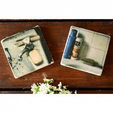 2er set badezimmer retro untersetzer aus travertin stein fliese handmade coaster