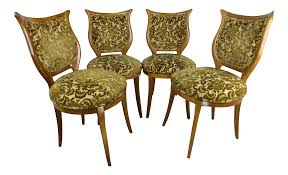 1930s American Classical Shieldback Dining Chairs - Set Of 4 | Chairish Set Of 8 Vintage Midcentury Art Nouveau Style Boho Chic Italian Stunning Of Six Inlaid Mahogany High Back Chairs 2 Pair In Antiques Atlas Lhcy Solid Wood Ding Chair Armchair Lounge Nordic Style A Oak Set With Table Seven Chairs And A Side Ding Suite Extension Table France Side In Leather Chairish Gauthierpoinsignon French By Gauthier Louis Majorelle Caned An Edouard Diot Art Nouveau Walnut And Brass Ding Table Four 1930s American Classical Shieldback 4