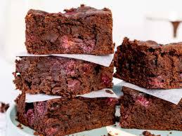 vegane brownies mit himbeeren