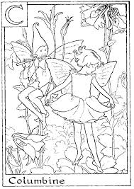 Letter C For Columbine Flower Fairy Coloring Page