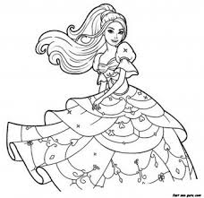 Free Print Out Barbie Beautiful Dress Coloring Pages Printable Up Game For Girls