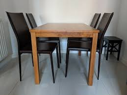 Solid Wood Dining Table In Cherry Wood And 4 Brown Modern Dining Chairs  With Steel Frame | In New Cross, London | Gumtree