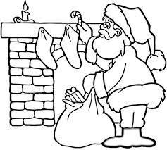 Coloring Pages Of Santa Near Fireplace